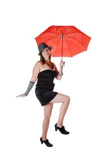 Free Lady With Hat And Umbrella. Royalty Free Stock Photos - 16847458
