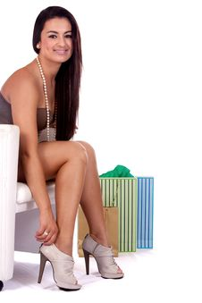 Happy Girl Shopping For Shoes Royalty Free Stock Photo