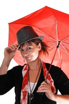Free Lady With Hat And Umbrella. Royalty Free Stock Photography - 16847517