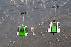 Cable Car Over The Great Wall Of China. Royalty Free Stock Photography