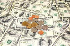 Free Dollar Bills And Coins Stock Photo - 16847870