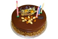 Chocolate Birthday Cake With Almond Royalty Free Stock Photos