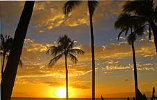 Hawaiian Sunset Beautiful Royalty Free Stock Photography