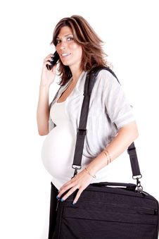 Free Pregnant Woman On Phone Carrying A Briefcase Royalty Free Stock Images - 16848039