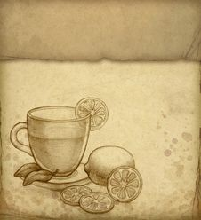 Free Pencil Drawing Of Glass Cup Of Tea Royalty Free Stock Photography - 16849847