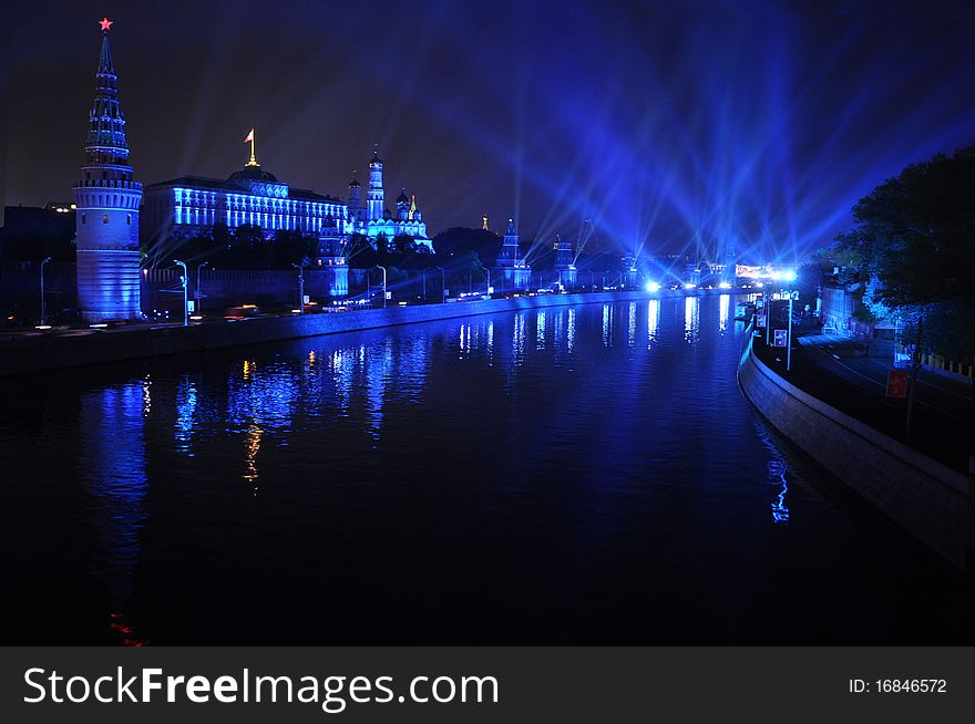 Kremlin Embankment at night, Moscow, Russia.
