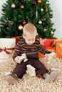 Free Baby Boy Playing With A Toy At Christmas Royalty Free Stock Image - 16854776