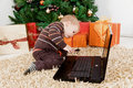 Free Baby Boy Playing With A Laptop At Christmas Stock Photos - 16855043
