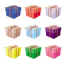 Free Set Of Nine Gift Boxes Stock Images - 16850094