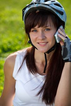 Free Cyclist Making A Call Royalty Free Stock Image - 16850266