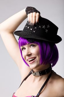 Free Beauty Disco Girl In Hat Stock Photography - 16850532