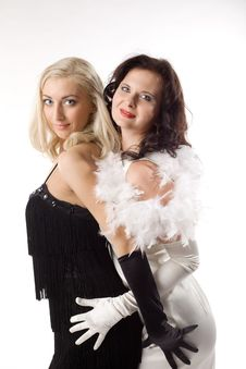 Free Two Young Woman In White And Black Feather Boa Royalty Free Stock Photography - 16850537