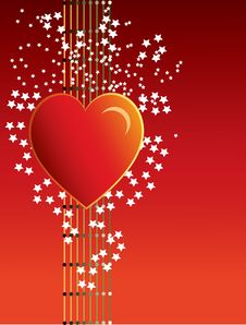 Free Heart On Red Background Royalty Free Stock Photos - 16850538