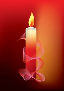 Free Candle On Red Background Stock Photo - 16850830