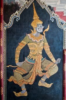Thai Art Gold Painting On Wall Stock Photo