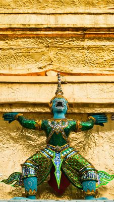 Thai Giant Stucco In The Grand Palace Royalty Free Stock Photos
