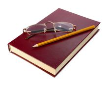 Book Is Glasses And Pencil Stock Image