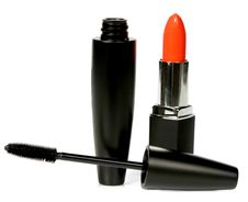 Ink For Eyelashes And Lipstick Royalty Free Stock Images