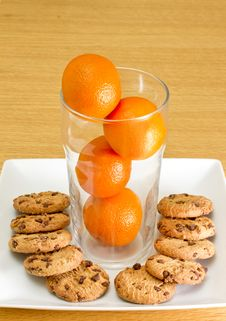 Free Pint Of Orange With Cookies Royalty Free Stock Photo - 16853325