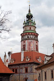 Free Castle Tower In Cesky Krumlov Stock Image - 16853991