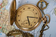 Free Old Watch On Map Stock Images - 16855914