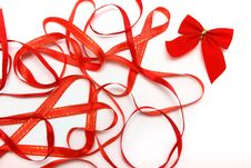 Free Bright Red Ribbons Royalty Free Stock Photos - 16856428