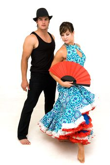 Free Young Dancing Couple Posing And Female Holding Fan Royalty Free Stock Images - 16857169