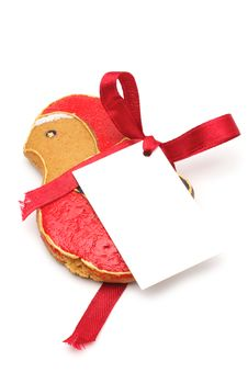 Free Christmas Bird With A Label Royalty Free Stock Photography - 16857707