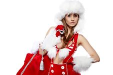Free Sexy Girl Wearing Santa Claus Clothes Stock Image - 16858091