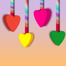 Vivid Colored Hearts Hanging, Multicolored Hanger On Light Colors Background. 3d Illustration. For Your Love, Healthy, Caring Royalty Free Stock Photos