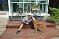 Free Asia Thailand Man Cowboy Sit With Dog Stock Photography - 16867062