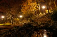 Free Pond In Autumn Park At Night Royalty Free Stock Image - 16860276