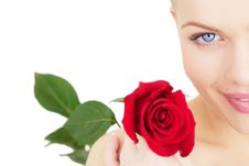 Free Girl With A Red Rose On White Stock Photography - 16860352
