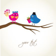 Free Greeting Card With Cute Birds Stock Photos - 16860423