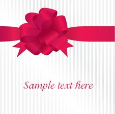 Free Greeting Card With Red Satin Bow Stock Images - 16860434