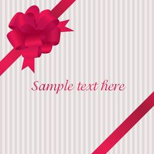 Free Greeting Card With Red Satin Bow Royalty Free Stock Photography - 16860437