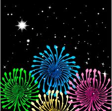 Christmas Fireworks On The Dark Sky. Stock Photography