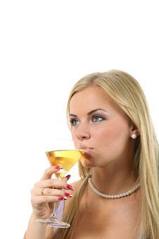 Blond In A Dress Drink Martini Stock Photography