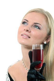 Free Blond In A Dress Drink Wine Stock Photo - 16861140