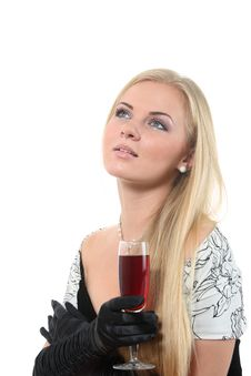 Free Blond In A Dress Drink Wine Stock Photography - 16861142
