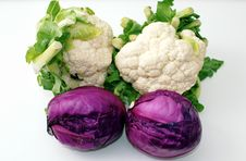 Red And Cauliflower Cabbage . Royalty Free Stock Image