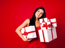 Free Girl With Presents Royalty Free Stock Photography - 16862617