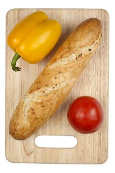 Free Uncutted Bread With Vegetables Stock Photography - 16863492