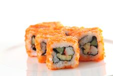 Free Egg Imitation Salmon Roll Sushi Isolated Stock Images - 16863894