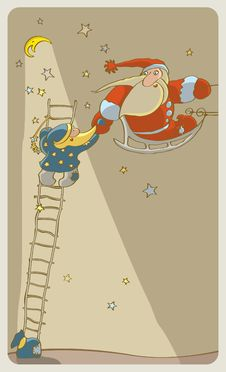 Free Two Santa Claus In The Starry Sky Stock Photos - 16863953