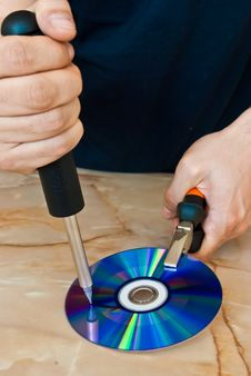 Free Compact Disc Being Destroyed Stock Photo - 16864350