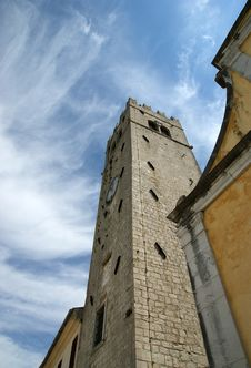 Belfry Old Lutheran Church. The Town Of Motovun Royalty Free Stock Images