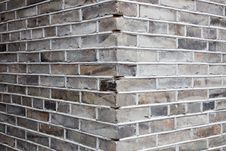 Corner Of Gray Brick Wall Stock Images