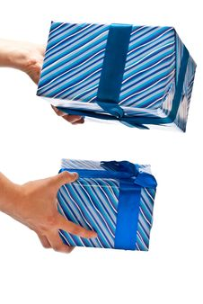 Free Two Gifts In Hands Stock Image - 16864651
