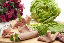 Free Sausage Plate With Salad Royalty Free Stock Photos - 16864728